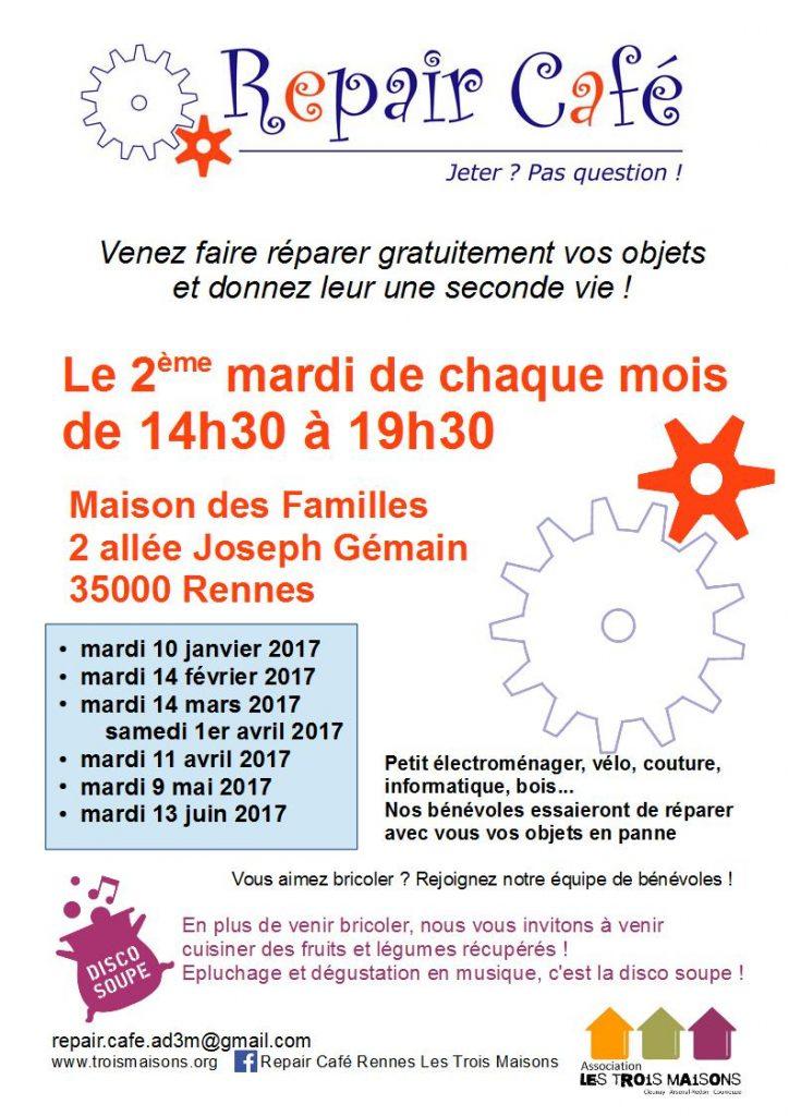 En 2017, le Repair café Rennes des Trois Maisons vous accueillera les mardis 10 janvier,14 février, 14 mars, 11 avril, 9 mai, 13 juin.