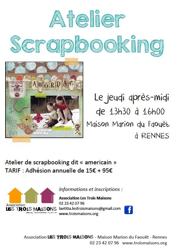 Atelier de scrapbooking américain à l'association Les Trois Maisons, le jeudi après-midi.