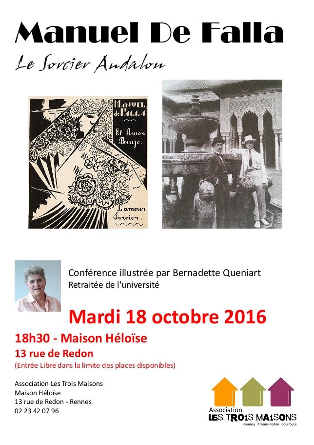 Manuel de Falla, conférence présentée par Bernadette Quéniard, à l'association Les Trois Maisons
