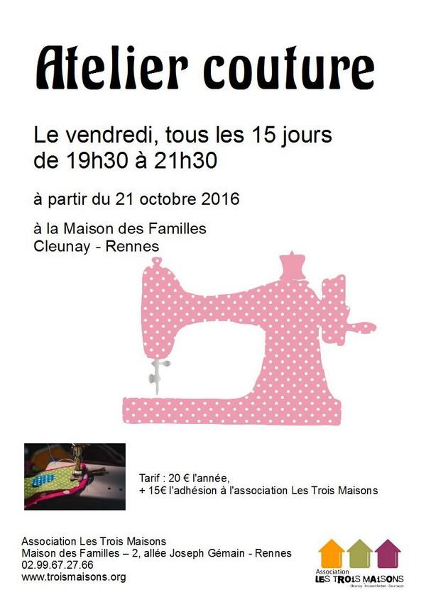 atelier couture le vendredi de 19h30 à 21h30, à la Maison des Familles - Cleunay -Rennes