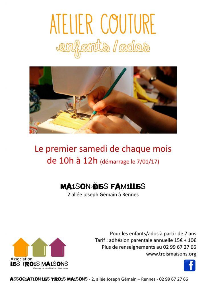 A la maison des familles, le premier samedi du mois, atelier couture enfants / ados à partir de 7 ans. Rennes, Cleunay