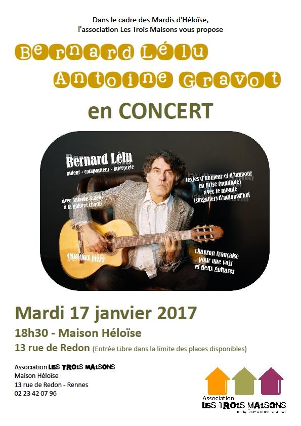 Mardi 17 janvier 2017, concert de Bernard Lélu à la Maison Héloïse.