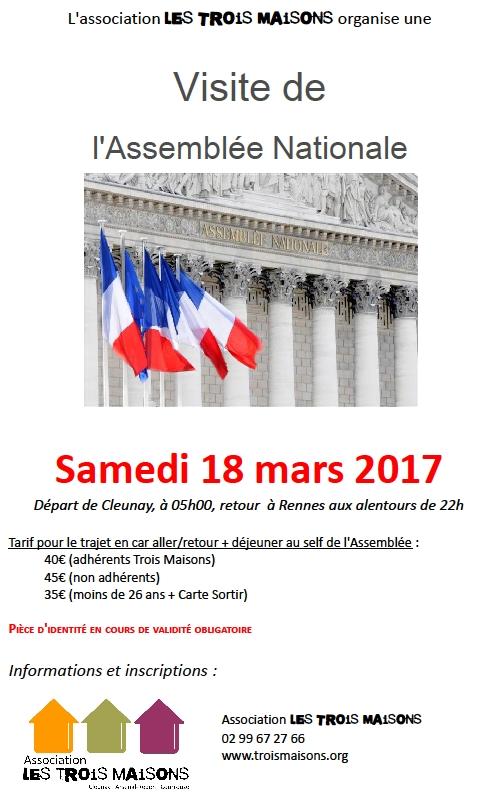 L'association Les Trois Maisons organise une visite de l'Assemblée Nationale le samedi 18 mars 2017