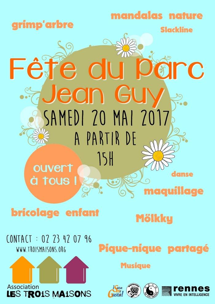 L'association Les Trois Maisons vous invite le samedi 20 mai 2017 à partir de 15h pour une fête au parc Jean Guy (quartier Arsenal-Redon, Rennes, près de la Maison Marion du Faouët) : salsa, taichi, danse country, molkky, mandala, slackline, menuiserie...