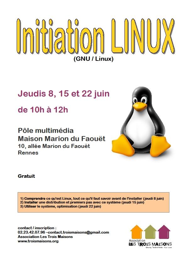 Ateliers d'initiation à Linux au pôle multimédia des Trois Maisons à Rennes. Présentation, installation, optimisation !