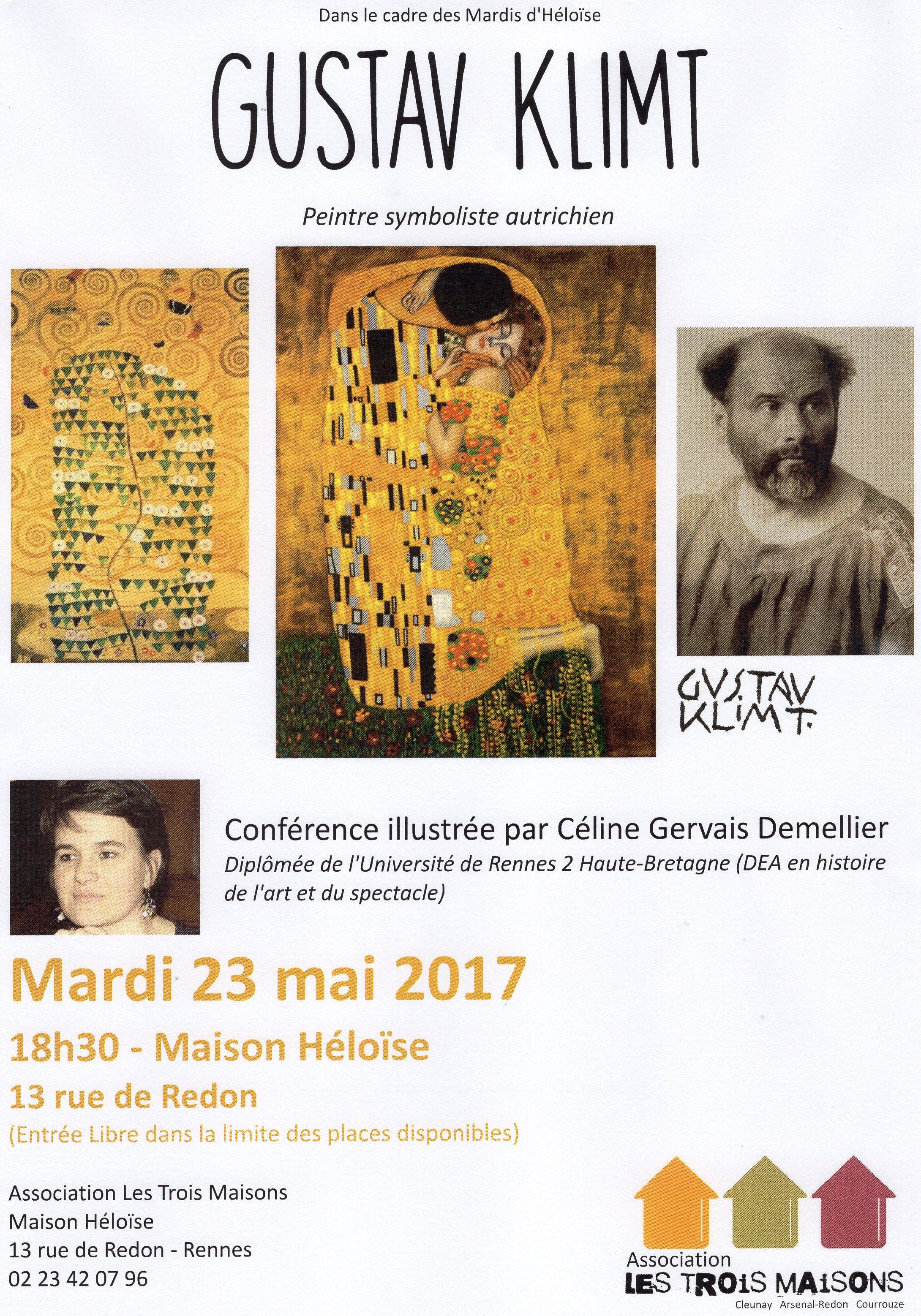 Conférence illustrée sur Gustav Klimt présentée par Céline Gervais-Demellier, mardi 23 mai 2017 à la Maison Héloïse, Rennes