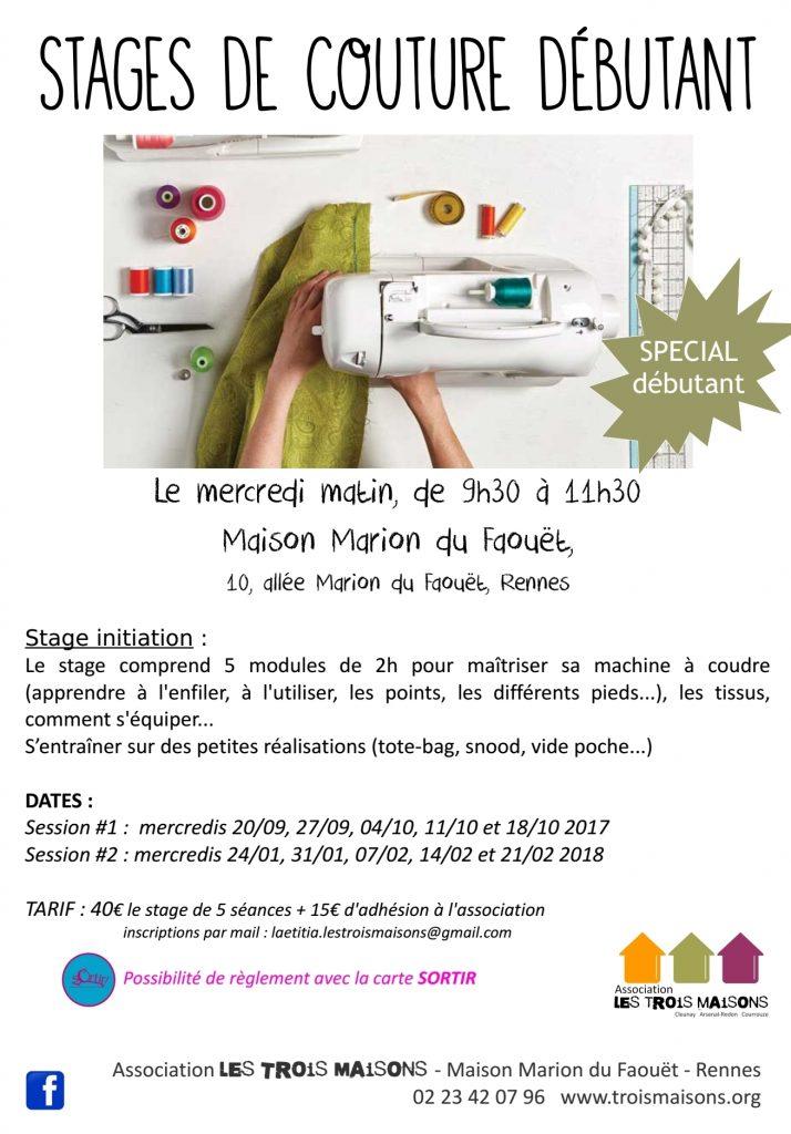 Pour maîtriser sa machine à coudre ! stage couture débutant, à l'Association Les Trois Maisons, Rennes