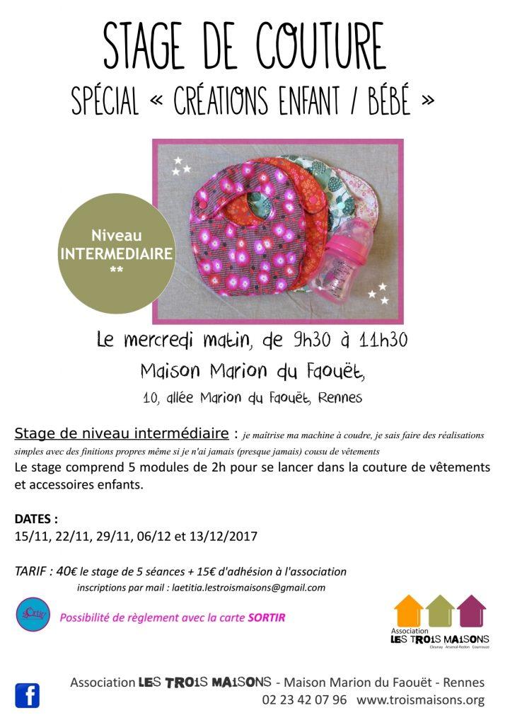 stage de couture de vêtements et d'accessoires pour enfant à Rennes