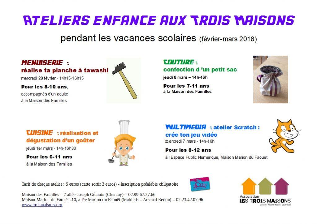 4 ateliers pour les enfants à l'association Les Trois Maisons : couture, cuisine, multimédia, bricolage