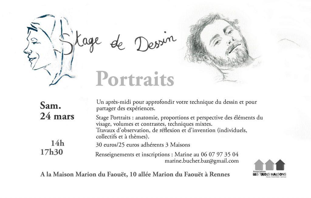 stage dessiner des portraits - mars 2018 - Rennes