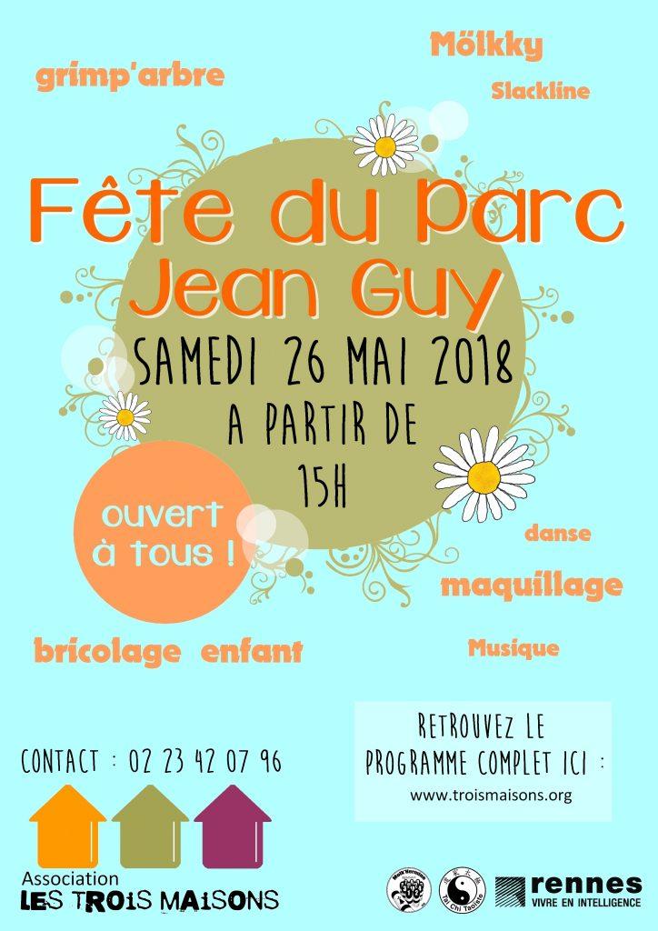 Fête du parc Jean Guy par l'association Les Trois Maisons, samedi 26 mai 2018 : danses country, tai chi, danses bretonnes, grimp'arbre, slack line, bricolage, art floral, maquillage, möllky...